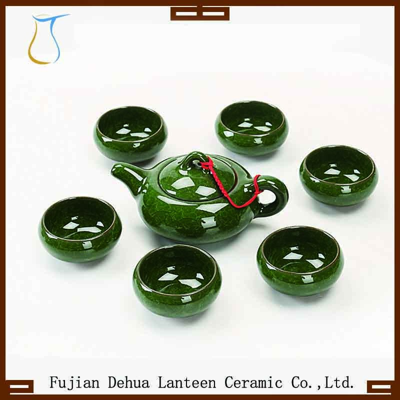 Hot selling 7 pieces green ice crack pottery kung fu tea set
