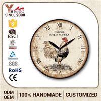 Export Quality Large Hot Sale Fashionable Design Animal Pattern Wooden Wall Clock
