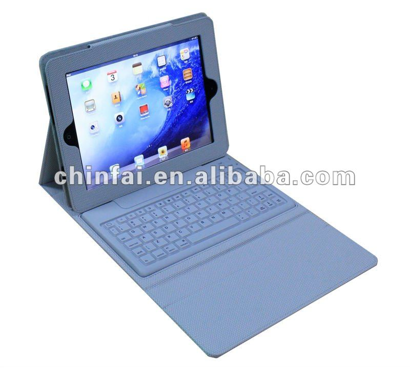 Bluetooth 3.0 silicon keyboard with leather PU case for Ipad 2/3/4