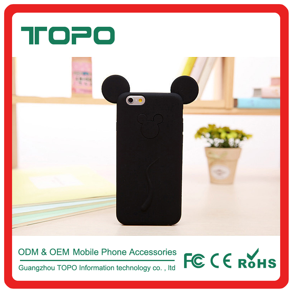 100% silicone mobile phone case 3D cartoon mouse ear phone cover for iphone 5 5s 6 6s 7 plus case