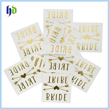 Bride and Bride Tribe Gold Temporary Tattoos For A Bachelorette Party