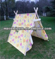 100% Cotton canvas teepee triangle kids play indian tent / fabric tents for children