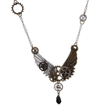 Animal Jewelry Steampunk Gear Eagle Wings Pendant Necklace