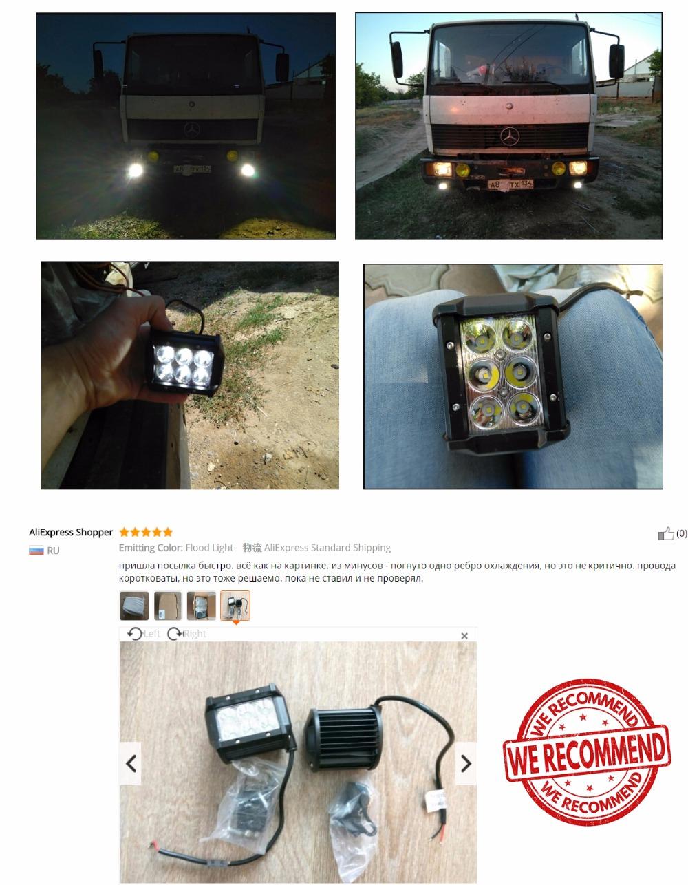 2Pcs 18W Work Light Bar 1800lm 6500K for LED Chips Car Top Flood Beam Driving Lamp for 12v 24v Vehicle SUV ATV etc