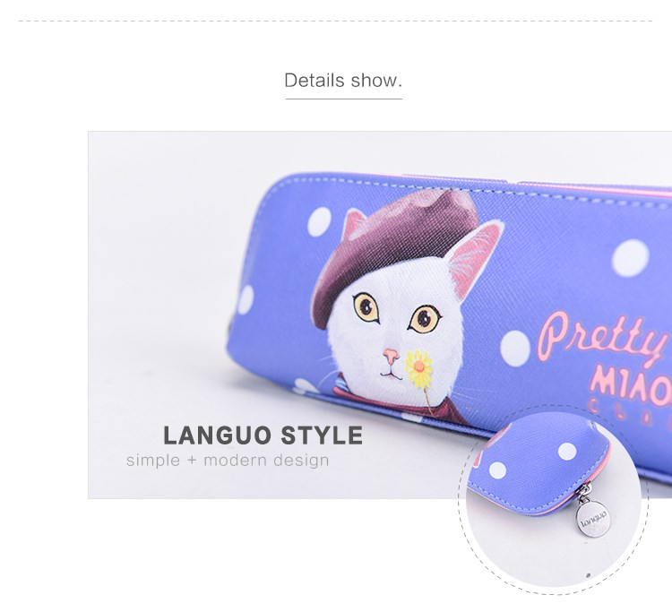 LANGUO style Latest Design Cartoon Cat PU Pencil Case For Kids LG-7327
