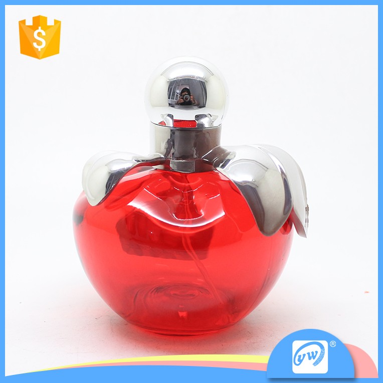 A1384-75ML process glass red apple shape clear bottles with pink pump