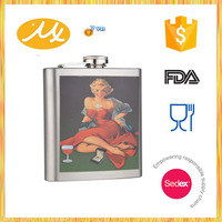 2015 hot stainless steel sex russia girls hip flask for men