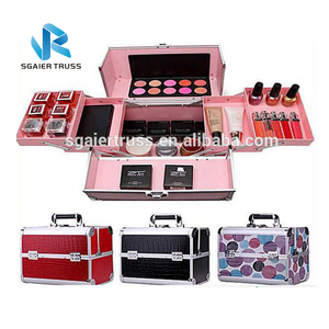 Pink aluminum cosmetic case with sparkling