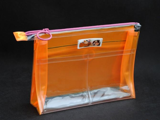 17.78*12.7*3.81cm thickness 0.3mm 1color logo $0.25 factory price clear pvc cosmetic zipper bags cases(SD-CB-041)