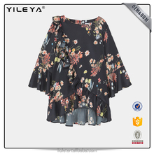 Women Fashion Printed Floral Blouse Ladies Long Sleeve Chiffon Loose Casual Top For Autumn