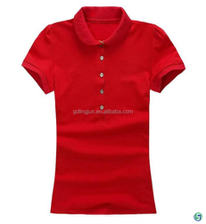 High quality pure red ladies button polo sports t -shirt factory direct sale china