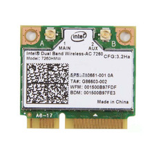 Intel inalámbrica-ac 7260 7260HMW 802.11AC doble banda BT4.0 mini PCIe <span class=keywords><strong>WiFi</strong></span> <span class=keywords><strong>tarjeta</strong></span>