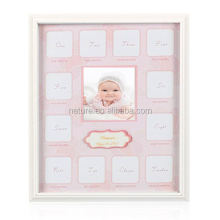 Baby Growth Collage Prime Grade Wood and Glass Baby 12-Month Timeline Picture Frame of Memory and Moment for Baby's First Year