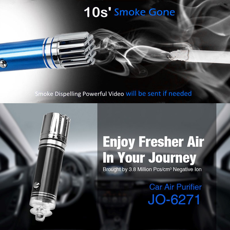 CE FCC ROHS Certificated JO-6271 Portable Ionizer Fresher Mini Negative Ion Car Air Purifier