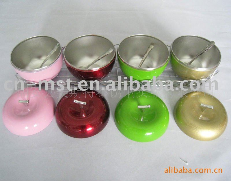 Apple shape stainless steel seasoning can