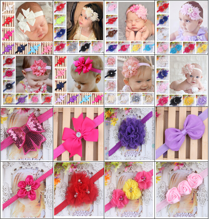 NEW lace baby headband Boutique +girls elastic hair bands+pearl flower hair accessories for kids BTS007