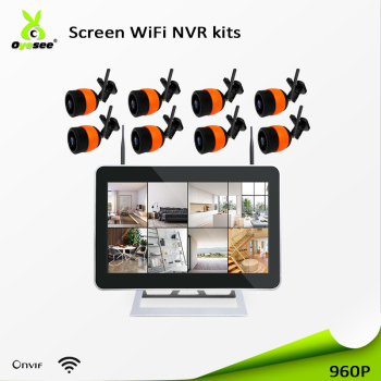 High quality cctv outdoor 12v mini wireless h.264 8ch nvr kit led screen 960p wifi camera setup ip66 app easy to install