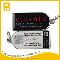 Epoxy covering Free mould fee qr code key tags / key chains made in China