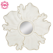 PU and Glass Irregular Shape White with Gold Line Design Decorative Wall Mirror for Restaurant