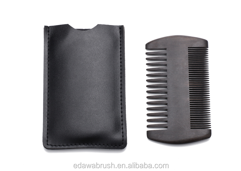 Portable vintage design sandalwood double sided beard comb
