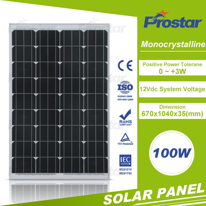 high efficiency monocrystalline pv model 100w mono solar panel
