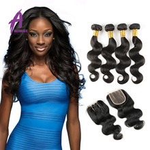 Wholesale Vendor 3 bundles brazilian virgin body wave hair weaving mixed length With lace closure