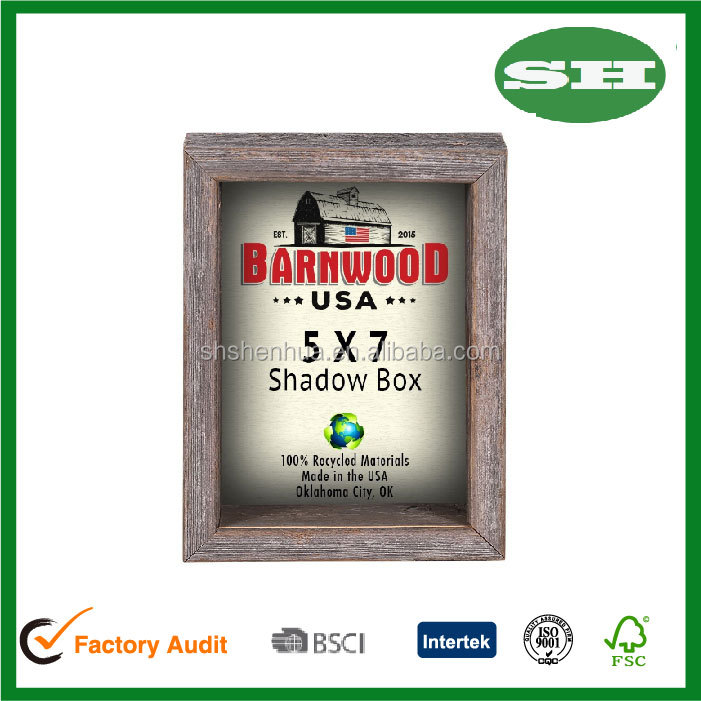 Rustic Reclaimed 5x7 wood Shadow Box Collectible Picture Frame