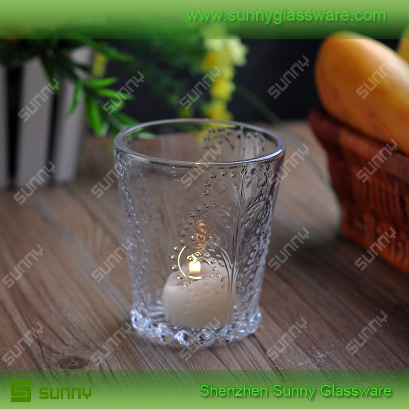 Clear Crackle Glass Votive Candle Holders
