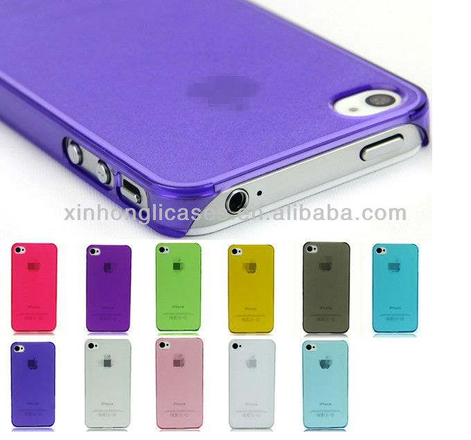 Transparent Crystal PC Glossy Back Skin Hard Case Cover For Apple iPhone 4 4S