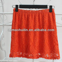 bright colorful elastic waitband cheap lace ladies short skirt designs
