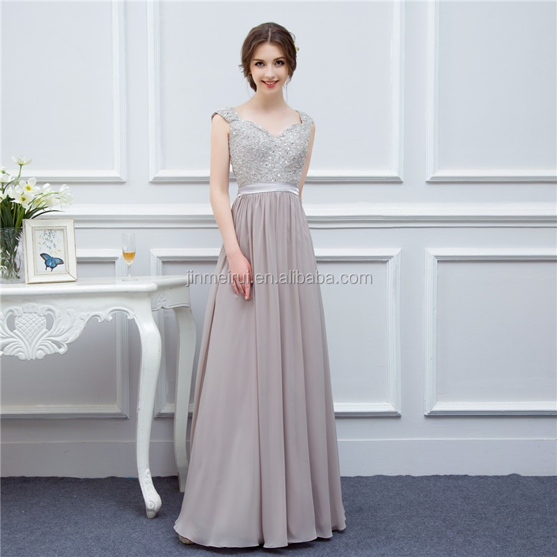 Gray Evening Dresses Long Chiffon High Quality Embroidery Back Nude See Through Prom Dress Evening Gown Real Photo