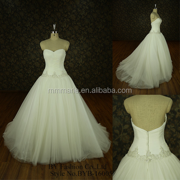big train sweetheart neckline soft tulle ball gown wedding dress for fat woman