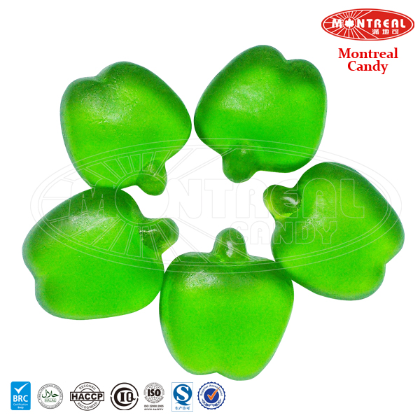 Soft chewy jelly gum candy apple green