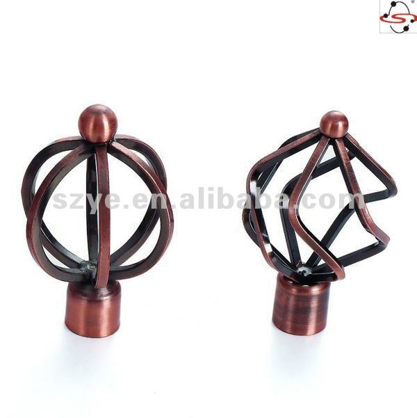 S13 curtain rod head,copper color with line design