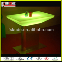 New Model Fantastic led bar table, Stainless steel base rechargeable glowing long narrow bar tables