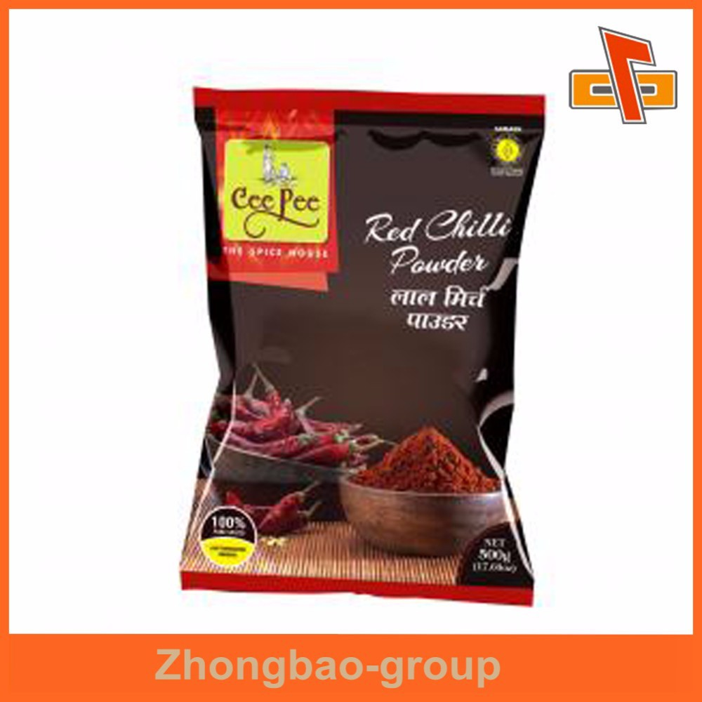 Back mid sealed aluminium foil red chilli power bag made in china