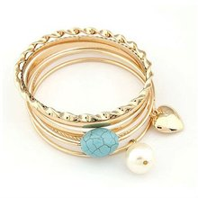 2012 rose gold plating multi layers bracelet with heart pendant