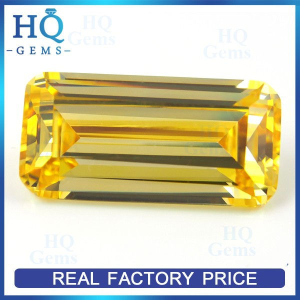 Loose Golden Yellow Rectangle Grade AAAAA Cubic Zirconia