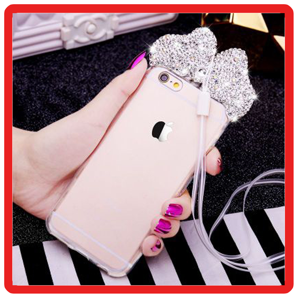Luxury 3D Diamond Bling Glitter Mickey Ears Rhinestone Clear Transparent Cases Cover For iPhone 7 7Plus 5 5s 6 6S 6Plus