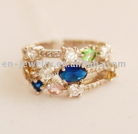 luxury finger ring full diamond blue green gem brass cheap finger ring ER1090