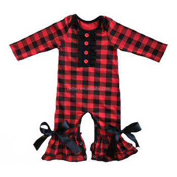 Christmas long sleeve ruffle raglan baby romper one piece button bow icing legging romper cotton buffalo plaid romper girl