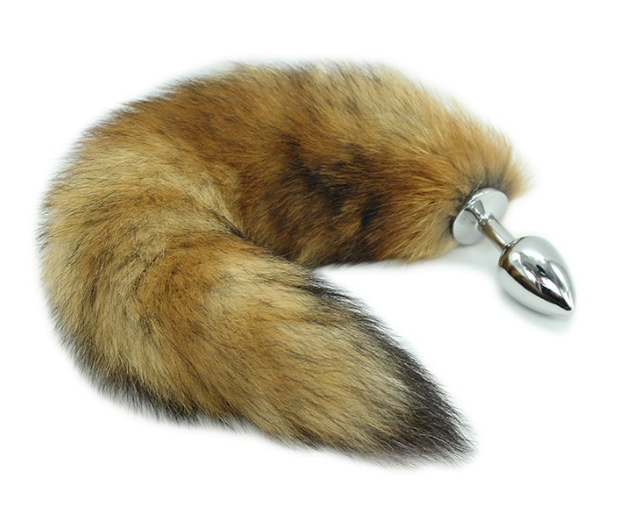 Furry tail butt plug Stainless Steel fox tail anal plug for women