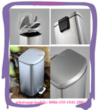 OEM accept square stainless steel foot pedal trash bin /garbage can dust bin for wholesale