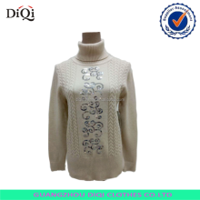 Lady twist fashion design turtle neck pullover with sequins