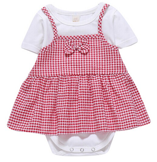 Summer newborn baby leave two bowknot one-piece skirt