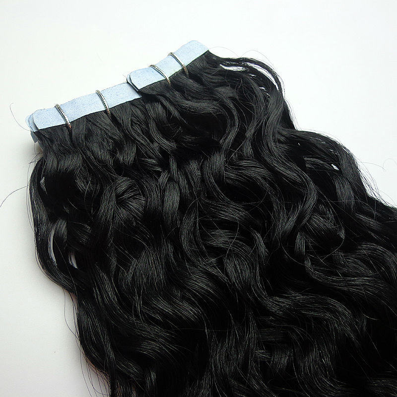 22 Inch 1 Jet Black Curly Tape Hair Extensions Buy