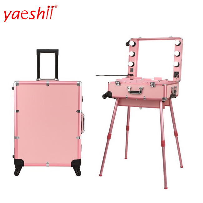 yaeshii 2018 new design professional aluminum rolling trolley lighted cosmetics makeup case with 6 LED bulbs