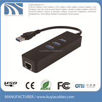 KUYIA 3-Port USB 3.0 Hub w/Gigabit Ethernet Adapter 1000 Mbps Lan Adapter Support XP, Vista, Windows10, Mac OS