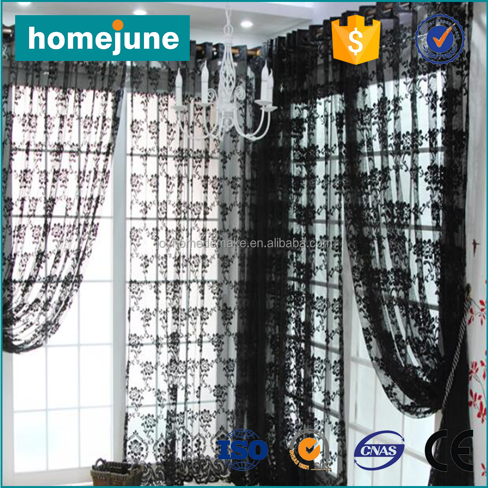 low MOQ high quality cheap price fashion black lace home curtains