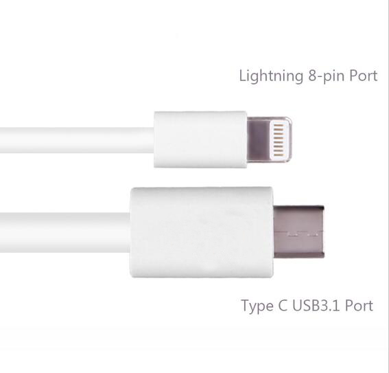 Super Fast USB 8 pin Type C Cord White/white Color <strong>Date</strong> Charging Type C 3.1 Cable